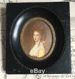 Portrait peint Signé Femme Coiffure XIXè Napoleon III French Handpainted 19thC