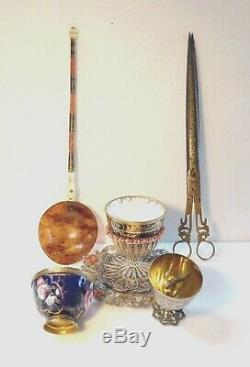 Précieux Zarf Ottoman. En 3 parties, Argent et Corail, XIXe