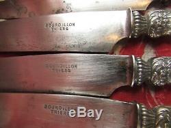 RARE 12 anciens grands couteaux + 10 petit manche argent & nacre XIXe napoleon 3