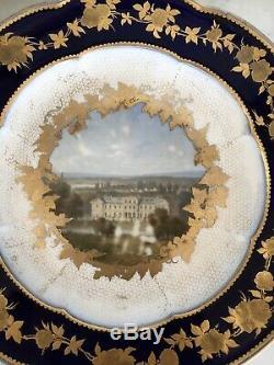 RARE Assiette porcelaine SEVRES Vue Château de SAINT LEU XIXe 19TH Napoléon III