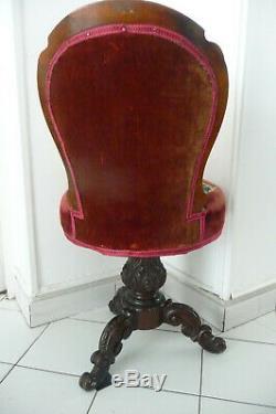 RARE CHAISE DE HARPISTE époque Napoléon III XIX ème assise tournante à restaurer