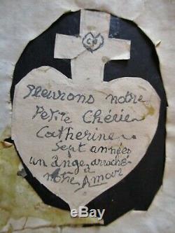 RELIQUAIRE DEUIL XIXe Travail de CHEVEUX CADRE VERRE BOMBE Napoléon III