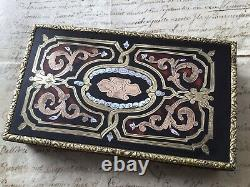 Rare Boîte Coffret A Couture Napoléon III Marqueterie Boulle Nacre Milieu XIXè