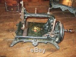 Rare Machine à coudre portable fin XIX eme, Rhenania 1880-90, Beau décor fleuri