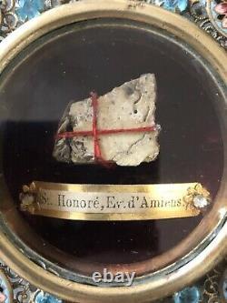 Rare RELIQUAIRE St Honoré Evêque d'AMIENS Ex ossibus XIXe Epoque Napoléon III