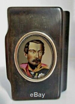 Rare TABATIÈRE XIXe peinture PORTRAIT MINIATURE Empereur Napoléon III SNUFF BOX