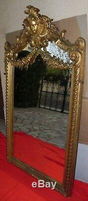 Rare antique Miroir napoleon III, style Louis XV feuille d'or, fronton, XIX eme