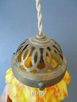Rare luminaire boule tulipe flamme pâte de verre Clichy Pantin fin XIXe
