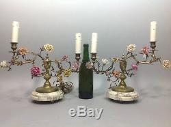 Rare paire chandeliers XIXe 19° Marbre Bronze Fleurs porcelaine Saxe Napoléon 3