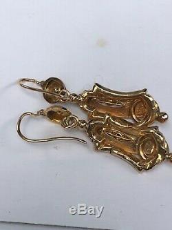 Rare paire de boucle d'oreille pendant or 18 k napoléon 3 gold earring xix ème