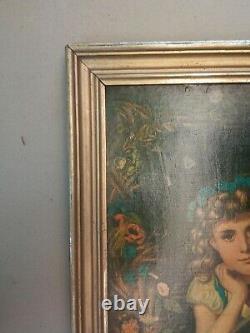 Rare paire de grands cadres Napoléon III dorés + Chromolithographies XIXe siècle