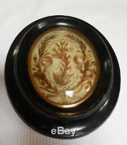 Reliquaire Deuil Cheveux Cadre Verre Bombe XIX Siecle Napoleon III Hauteur 23cm