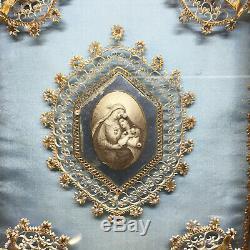 Reliquaire ancien cadre bois noici Napoléon III cachet XIX Antique Reliquary