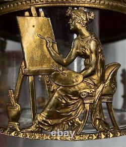 SUPERBE Boite Bijoux Cristal Bronze Doré allégories des Arts BACCARAT XIXe 19Th