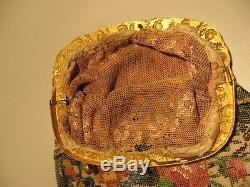 Sac de bal en sablé de perles polychromes XIX eme Travail de perle Napoléon 3