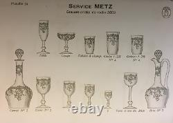 Saint Louis Metz Coupe A Champagne Glasses Cristal Gravé Napoleon III 19eme XIX