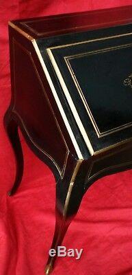 Secrétaire Napoléon III marqueté de laiton XIX siècle