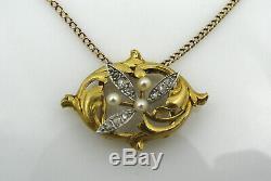 Serre-collier ou pendentif XIX è Napoléon III or 18 K perles roses de diamants