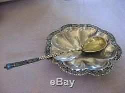 Service à caviar Russe Argent massif & vermeil plat et sa cuillère émaillée XIX