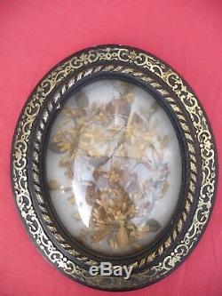 Shabby grand cadre Napoléon III, XIXe, ovale bois noirci verre bombé 37,5cm