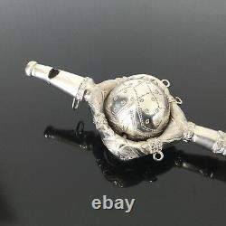 Splendide Hochet Siffleur Argent Prise En Nacre XIXè MOP Victorian Rattle 19thC