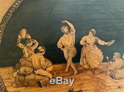 Sublime GUÉRIDON TRIPODE MARQUETÉ d'époque ITALIE XIX à décor de scène de danse