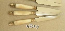 Suite de 2 x 12 anciens couteaux en nacre argent et argent XIXè siècle
