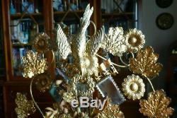Superbe Globe de Mariée XIXe NAPOLEON III Verre soufflé, ruban, fleurs cire
