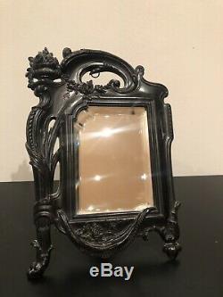 Superbe Miroir Napoléon III En Ebonite Gutta Percha XIX Eme
