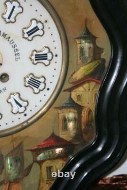 Superbe Oeil De Boeuf Au Paysage Lacustre XIXe Siècle