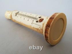 Superbe Thermometre Du Xixe Siecle A Decor De Tete D'enfant Et De Bord De Mer