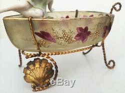 Superbe ancien baguier porte montre gousset XIXe Napoléon III porcelaine verre