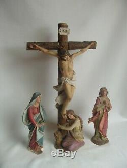 Superbe ensemble de 3 statues religieuses en plâtre fin XIXe siècle