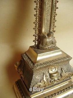 Superbe et rare crucifix doré à la feuille d'or XIXe siècle