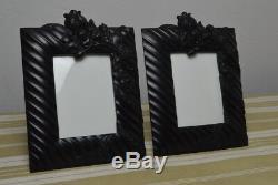 Superbe & grand cadre porte photo ébonite Napoléon III 19ème XIX verre bombé
