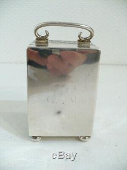 Superbe pendulette de voyage en argent massif. XIXè siècle. Pendule d'officier