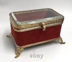 Superbe petit coffret boite Bijoux Verre biseauté Napoléon III XIXe 19TH