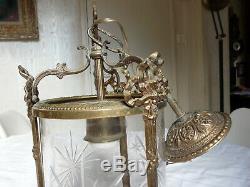 Suspension Lustre Lanterne Bronze & Verre Grave Napoleon III XIX Eme Chandelier