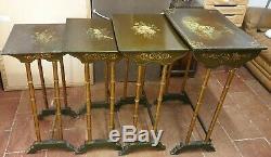 TABLES GIGOGNE NAPOLEON III PEINTES MAIN SIGNÉ BOIS DORE XIX EME LS & P frères