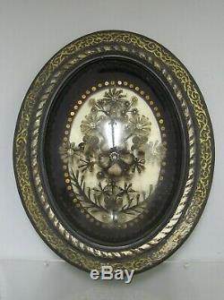 TRAVAIL DE CHEVEUX CADRE BOIS NOIRCI VERRE BOMBE XIX Napoléon III