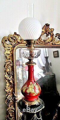 TRÈS GRANDE LAMPE A PÉTROLE CRISTAL BACCARAT porcelaine laque Chine XIXe Matador