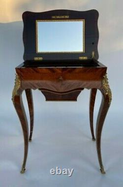 Table A Ouvrage XIX Eme Napoleon III Ronce De Noyer Marqueterie Bronze L365
