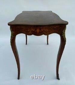Table Bureau XIX Em Napoleon III Marqueterie Bronze Decor Floral L741