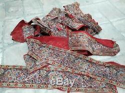Tissu ancien indiennes Alsace tissu imprimé rouge Andrinople Turc Napoléon 3 XIX