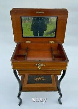 Travailleuse Napoleon III XIX Eme Marqueterie Decor De Pecheur L629