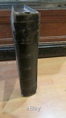 Tres bel ancien album photo napoleon III XIXE cuir bronze argenté ciselé cdv