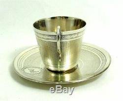 Très belle tasse + sous tasse XIXe Napoléon III guillochée argent massif Minerve