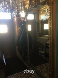 Très grand Miroir Mural décoratif Doré Baroque aux anges, XIX