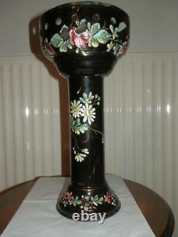 Vase Porte Cendrier Tole Emaillee Fleurie Cafetiere Napoleon III Xixe