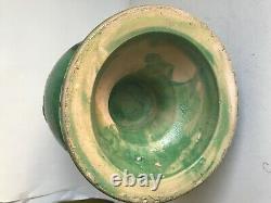 Vase balustre terre cuite vernissée verte XIX art populaire régional Décoration
